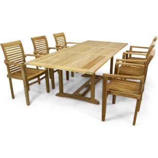 Förlängningsbart utebord 180-240cm premiumteak med 6 stolar
