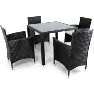 Liten matgrupp utemöbler i konstrotting med 4 stolar