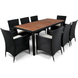 Matgrupp trädgårdsmöbler i konstrotting med 8 stolar