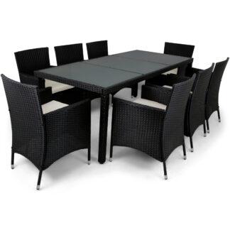 Matgrupp utemöbler med 8 stolar | Dynor ingår | Konstrotting