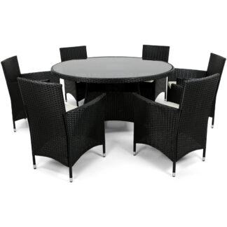 Rund matgrupp utemöbler | 6 stolar | Dynor ingår | Konstrotting
