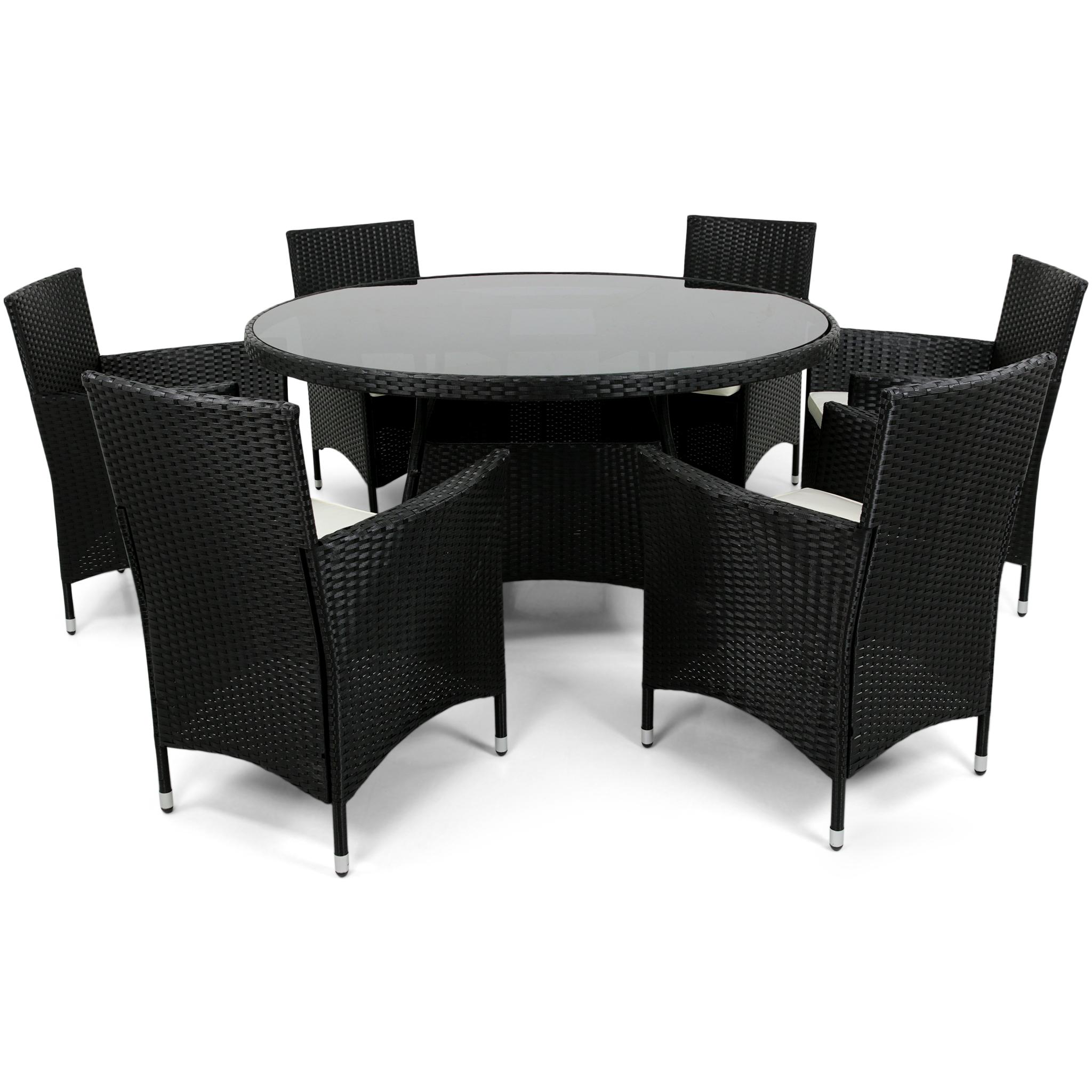 Splitter nya Rund matgrupp utemöbler | 6 stolar | Dynor ingår | Konstrotting AI-79