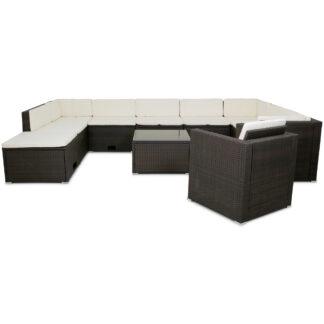 Stor loungegrupp utemöbler | Smart inbyggd förvaring | Konstrotting