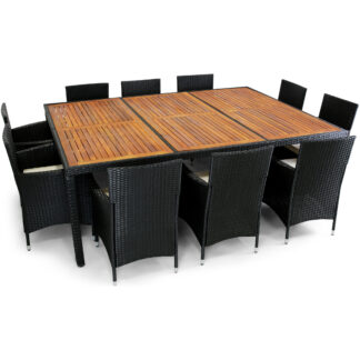 Stor matgrupp 220x160cm utemöbler med 10 stolar