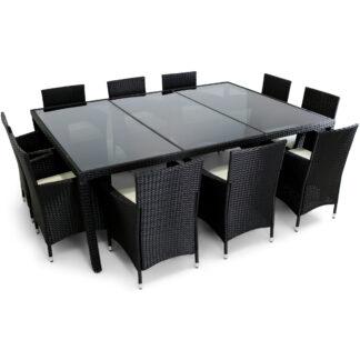 Stor matgrupp utemöbler | 10 stolar | Dynor ingår