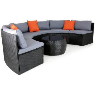 Stor rund loungegrupp i konstrotting - 6 sittplatser