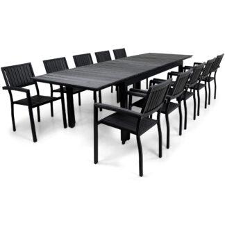 Utemöbler | Förlängningsbart bord 200-300cm | 10 stolar