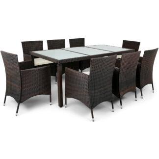 Utemöbler i mörkbrun konstrotting - matgrupp med 8 stolar