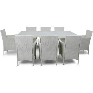 Utemöbler i vit konstrotting - matgrupp med 8 stolar