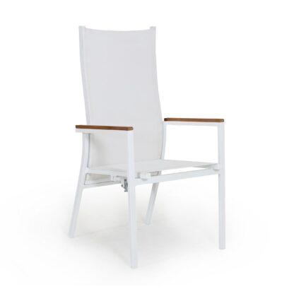 Avanti positionsstol vit/vit med armstöd i teak