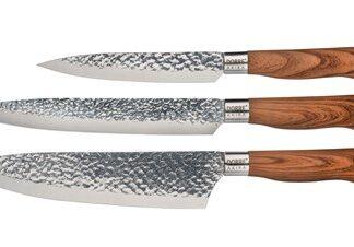 Dorre Knivset i stål brunt handtag 3 delar
