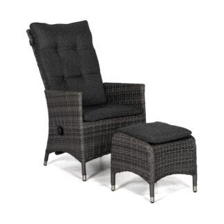 Georgia Lyx positionsstol antracitgrå med fotpall