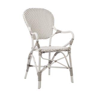 Isabell karmstol aluminium/konstrotting vit
